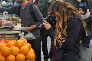 Drew on a photo shoot at the Open Market in Jerusalem