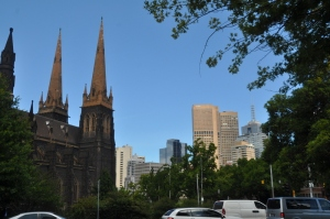 St. Patrick's w/ the Melbourne Skyline
