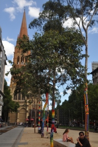 Crochet Covered Trees in Melbourne