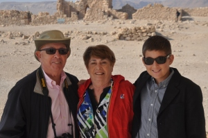 Cousins Marilyn & Merv with Noah at Masada