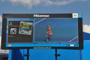 Drew & Karley on the Video Screen @ the Australian Open