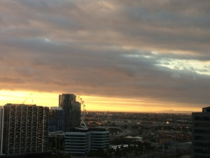 Melbourne Skyline first night sunset