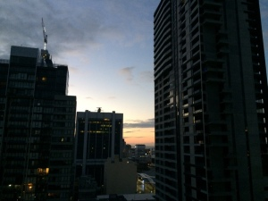 Melbourne Skyline from Apartment first full day!