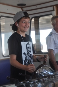 Noah at the helm of the ferry