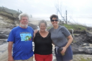 Bill, Diane and Ilise on the beach of Fraser Island