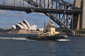 The Sydney Opera House through the Harbor Bridge