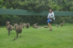 Ilise showing some leg with the kangaroos :-)