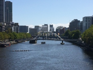 Yarra River from behind Flinder's Street Station.