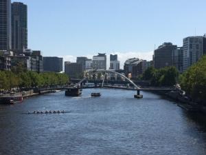 Yarra River from behind Flinder's Street Station.