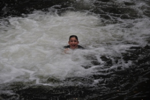 Noah after jumping into Crystal Cascades for the first time