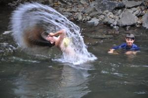 Drew's hair in the river