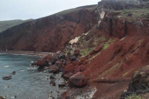 Red Beach after a recent rock slide