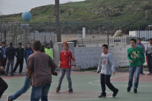 Noah playing soccer at Emborio Middle School