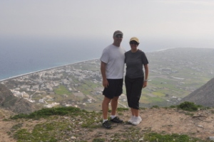 Us at the top of the mountain in Perissa during our hike
