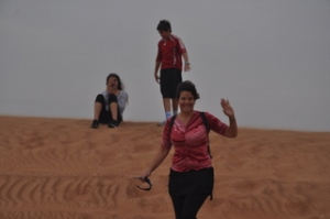 Ilise, happy before the sand dune ride :-)