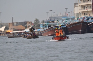 Taking a water taxi on the Dubai canal