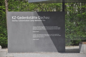 Entrance sign to Dachau Museum