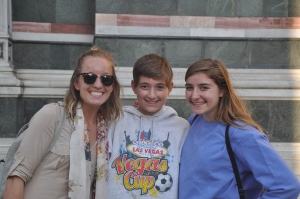 Our new friend Lindsey with Drew and Noah in from of the Duomo