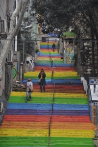 Painted stairs heading up the slope in Istanbul. Lots of hills here!