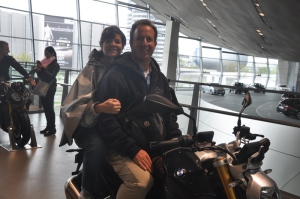 Ilise and I on a BMW motorcycle at BMW Welt