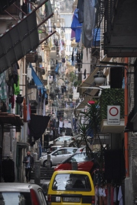 The skinny alleys of Naples, littered with drying laundry