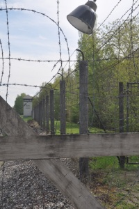 Barbed wire fence at Dachau to deter prisoners from excaping