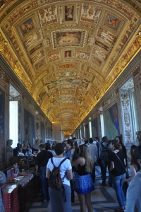 The map room at the Vatican with an amazing ceiling and maps of Italy on every wall.