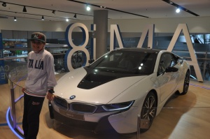 Noah and the i8 at BMW Welt