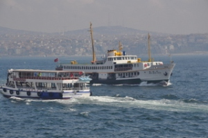 Boats in the Bosphorus while on the ferry