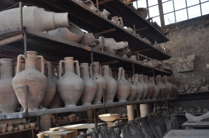 Totally in tact vases by the hundreds lined up in store rooms around the main square in Pompeii