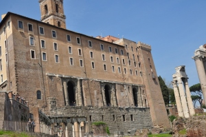 Multiple centuries of buildings built on top of each other in Rome