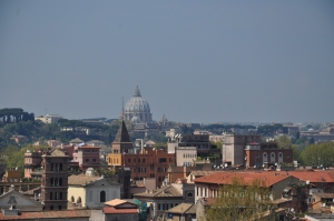 View of the Vatican from a hill high above Rome