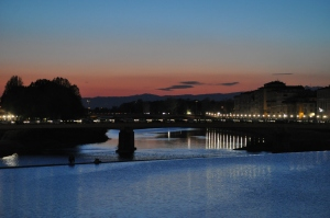 Amazing sunset in Florence on the Arno River