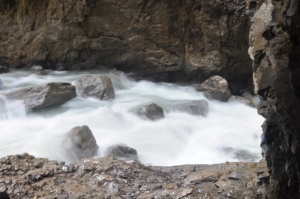 Amazing raging river flowing through Partnach Gorge