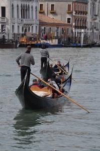 Gondolas on the Grand Canal in Venice