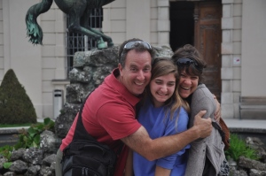 Ilise, Drew and me posing for a silly picture in Mirabell Gardens.
