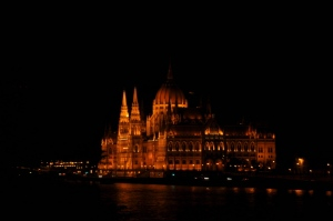 The Parliament Building in Budapest at night