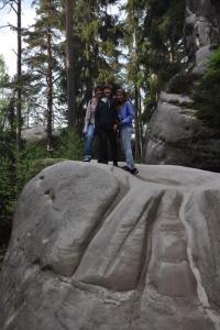 Ilise and kids on a big rock