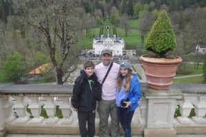 The kids and I at Linderhof Castle