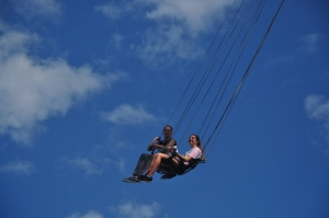 Drew on the world's tallest swing. It was 117 meters off the ground!