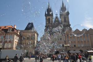 Bubble maker in Old Town Square in Prague