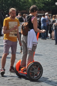 Laslow teaching Ilise how to ride a Segway on our first day in Prague