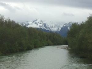 Beautiful creek flowing through Oberau