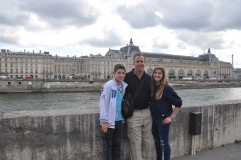 Kids and me across the river from Musee D'Orsay