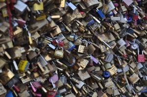 Locks of love on a bridge in Paris