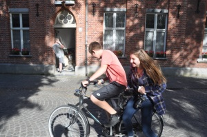 Drew & Noah on a bike in Bruges.