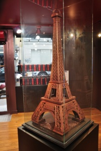 The Eiffel Tower made of chocolate at a local chocolate shop. Yum!