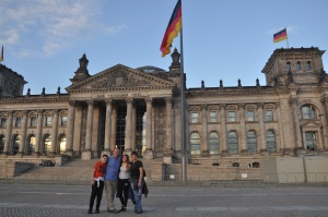 Family in front of the Reichstag Building in Berlin